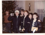 1971 Xmas Caroling at Despres' house. L-R: S.Johnson, S.Strouse, D.Keyes, D.McIntosh, P.Trapp, D.Montgomery