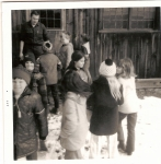 1971 Fales School trip to Old Sturbridge Village. (Remember the rings made of old nails?)  L-R: D.Montgomery, K.Given, B